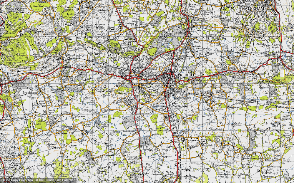 Old Map of Reigate, 1940 in 1940