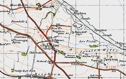 Old map of Reighton in 1947