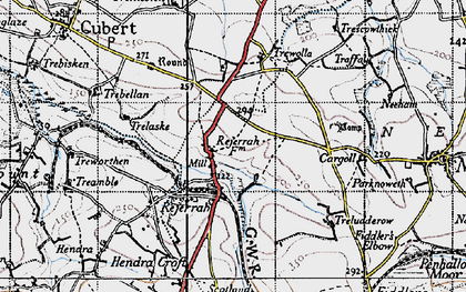 Old map of Rejerrah in 1946