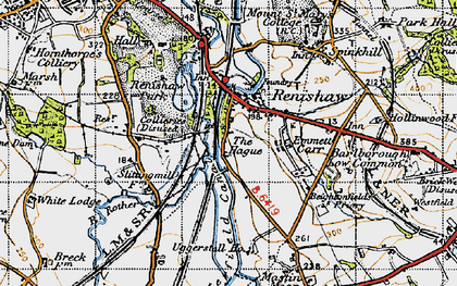 Old map of Renishaw in 1947