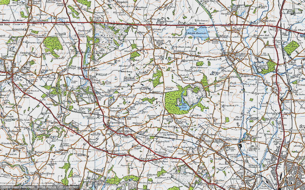 Old Map of Historic Map covering Wood Ho, The in 1946