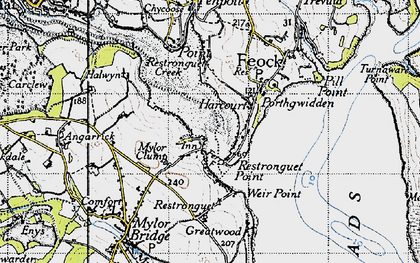 Old map of Restronguet Passage in 1946