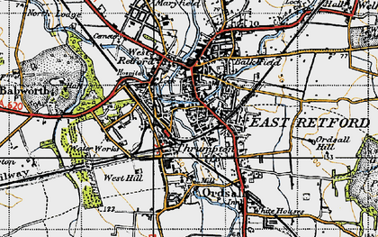 Old map of Retford in 1947