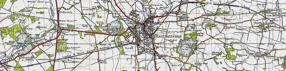 Old map of Retford in 1947