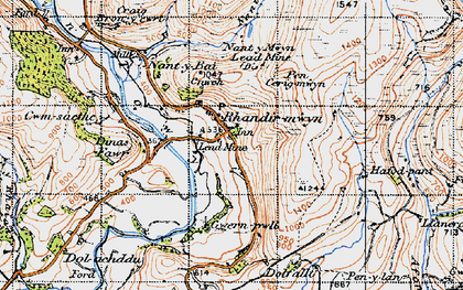 Old map of Afon Lwynor in 1947