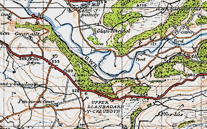Old map of Rheidol in 1947