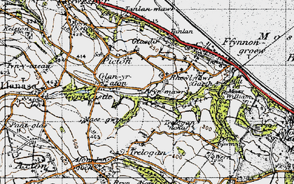 Old map of Afon y Garth in 1947