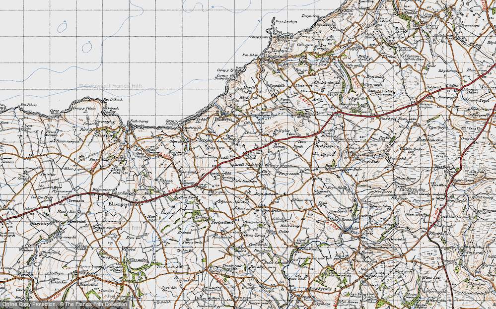 Old Map of Historic Map covering Allt y corde in 1947