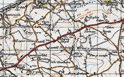 Old map of Allt y corde in 1947