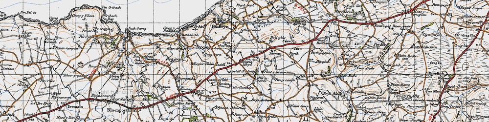 Old map of Allt y corde in 1947