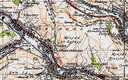 Old map of Rhondda in 1947