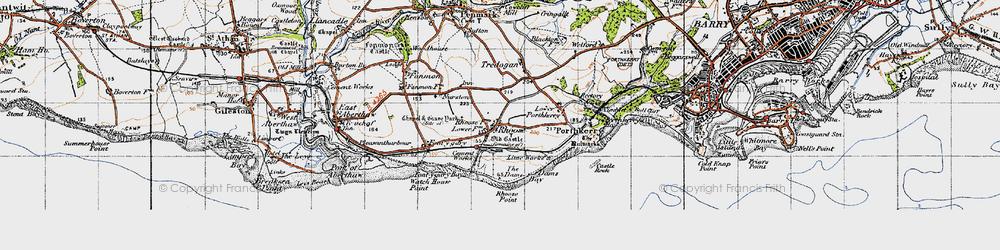 Old map of Rhoose in 1947