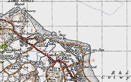 Old map of Rhôs-on-Sea in 1947