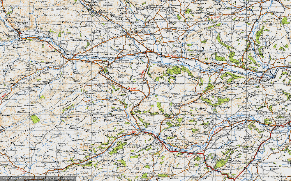 Old Map of Historic Map covering Aber Rhaeadr in 1947