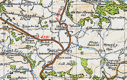 Old map of Allt Tair Ffynnon in 1947