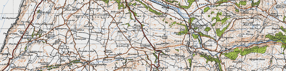 Old map of Abernac in 1947