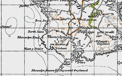 Old map of Rhoscolyn in 1947