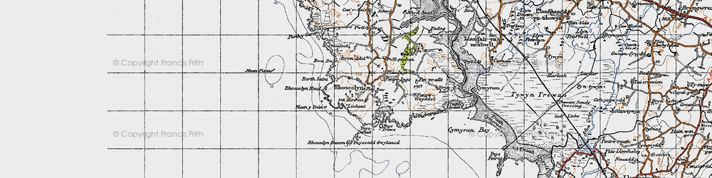 Old map of Ynys Traws in 1947