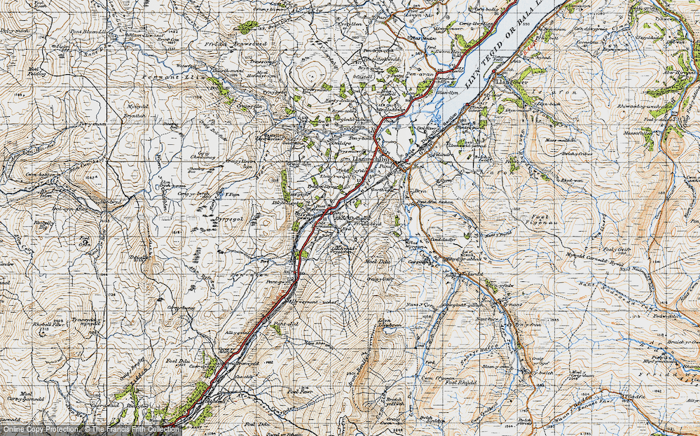 Old Map of Historic Map covering Afon Dyfrdwy in 1947