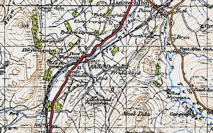 Old map of Afon Dyfrdwy in 1947