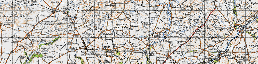 Old map of Afon Wern in 1946