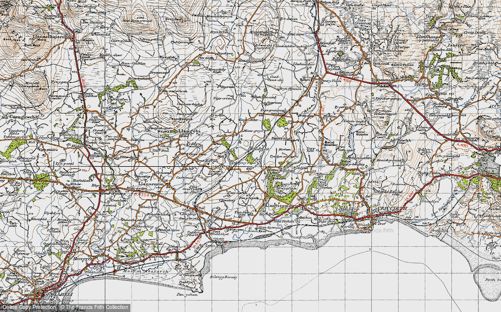 Old Map of Historic Map covering Afon Wen in 1947