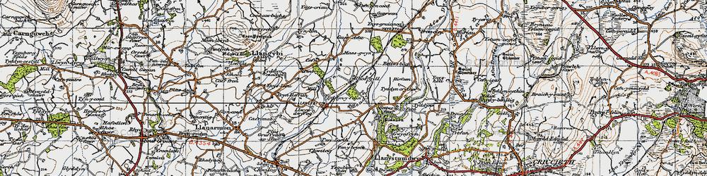 Old map of Afon Wen in 1947