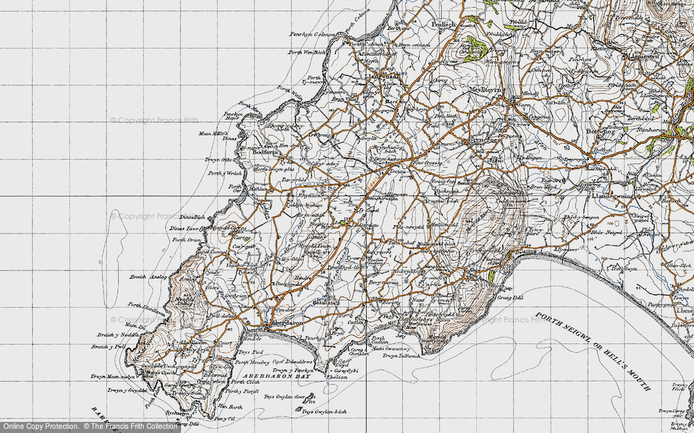 Old Map of Historic Map covering Afon Daron in 1947
