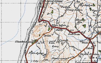 Old map of Rhoslefain in 1947