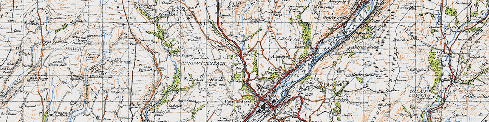 Old map of Rhyd-y-fro in 1947