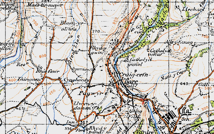 Old map of Banc Darren-fawr in 1947