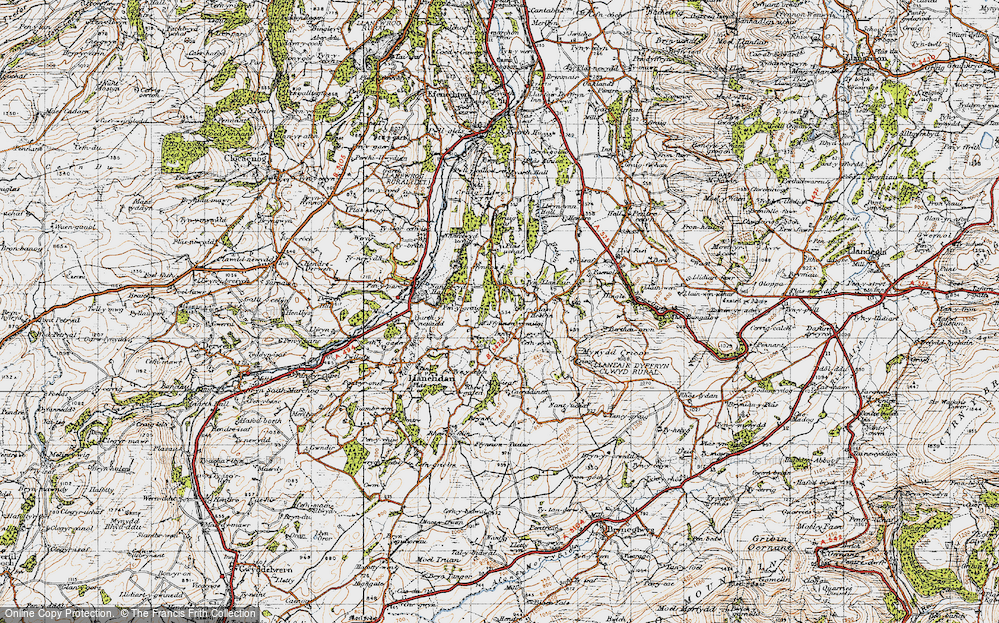 Old Map of Historic Map covering Afon Hesbin in 1947