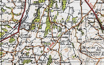 Old map of Afon Hesbin in 1947