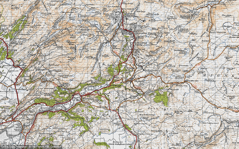 Old Map of Historic Map covering Afon Goedol in 1947
