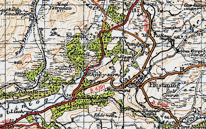 Old map of Afon Goedol in 1947