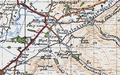 Old map of Ysguboriau in 1947