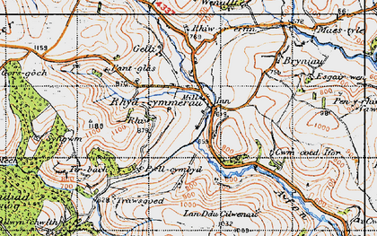 Old map of Afon Gorlech in 1947