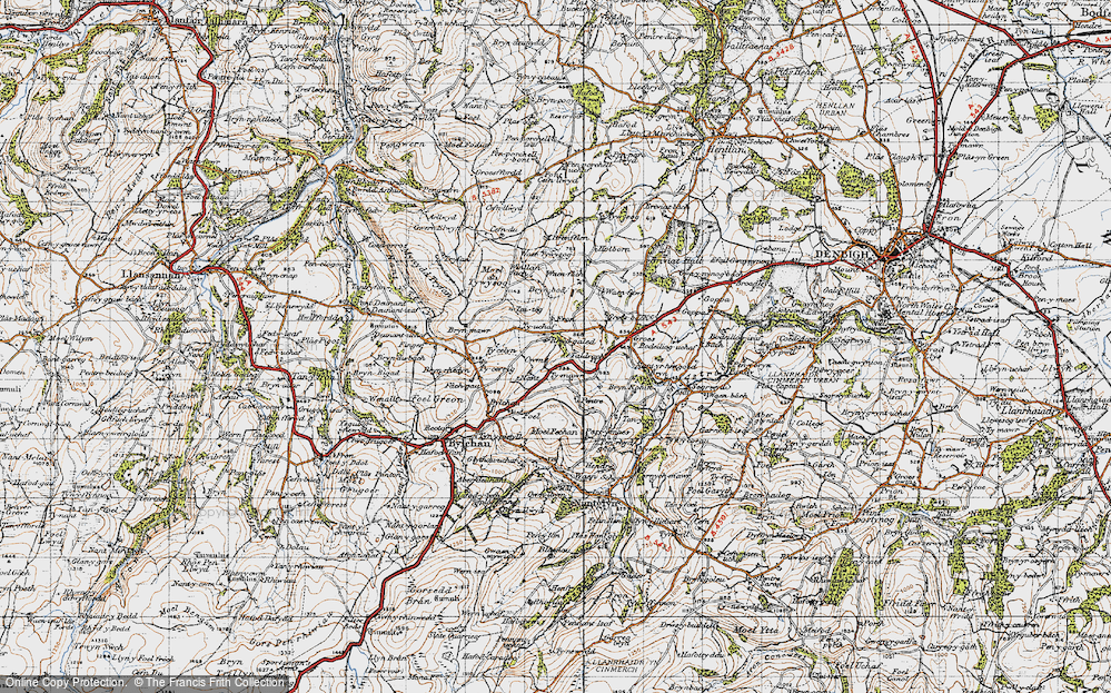 Old Map of Historic Map covering Fron in 1947