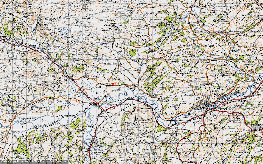 Old Map of Historic Map covering Aberhafesp in 1947