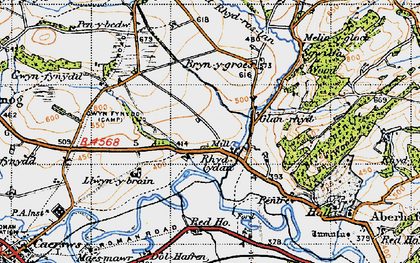 Old map of Aberhafesp in 1947