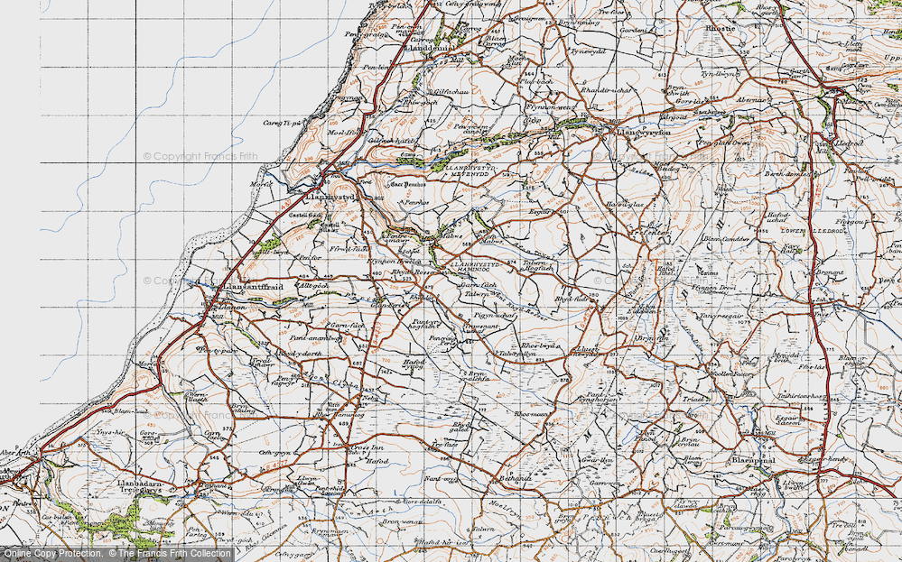 Old Map of Historic Map covering Talwrn Hogfaen in 1947