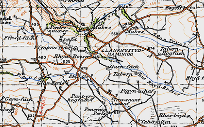 Old map of Wyre Fach in 1947