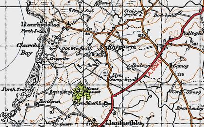 Old map of Rhydwyn in 1947