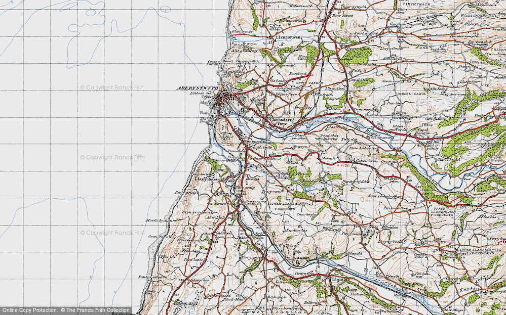 Old Map of Historic Map covering Bâch-y-rhew in 1947