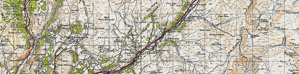 Old map of Afon Eiddon in 1947