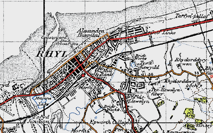 Old map of Rhyl in 1947