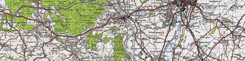 Old map of Ribbesford in 1947