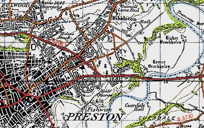 Old map of Ribbleton in 1947