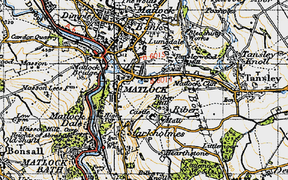 Old map of Riber in 1947