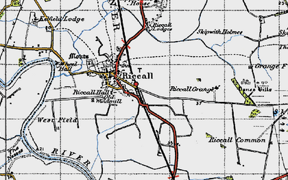 Old map of Riccall in 1947